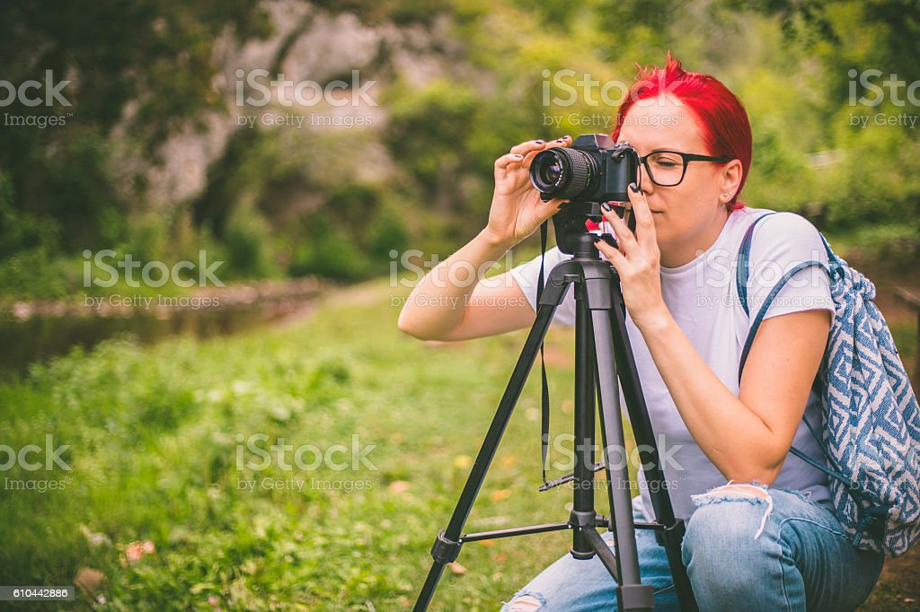 young woman making a picture stock photo