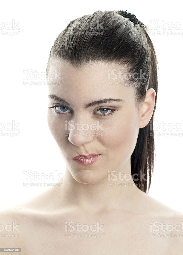 young woman making expression stock photo