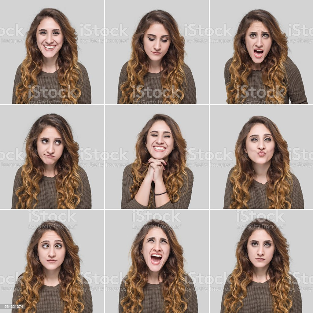 Young woman making facial expression stock photo