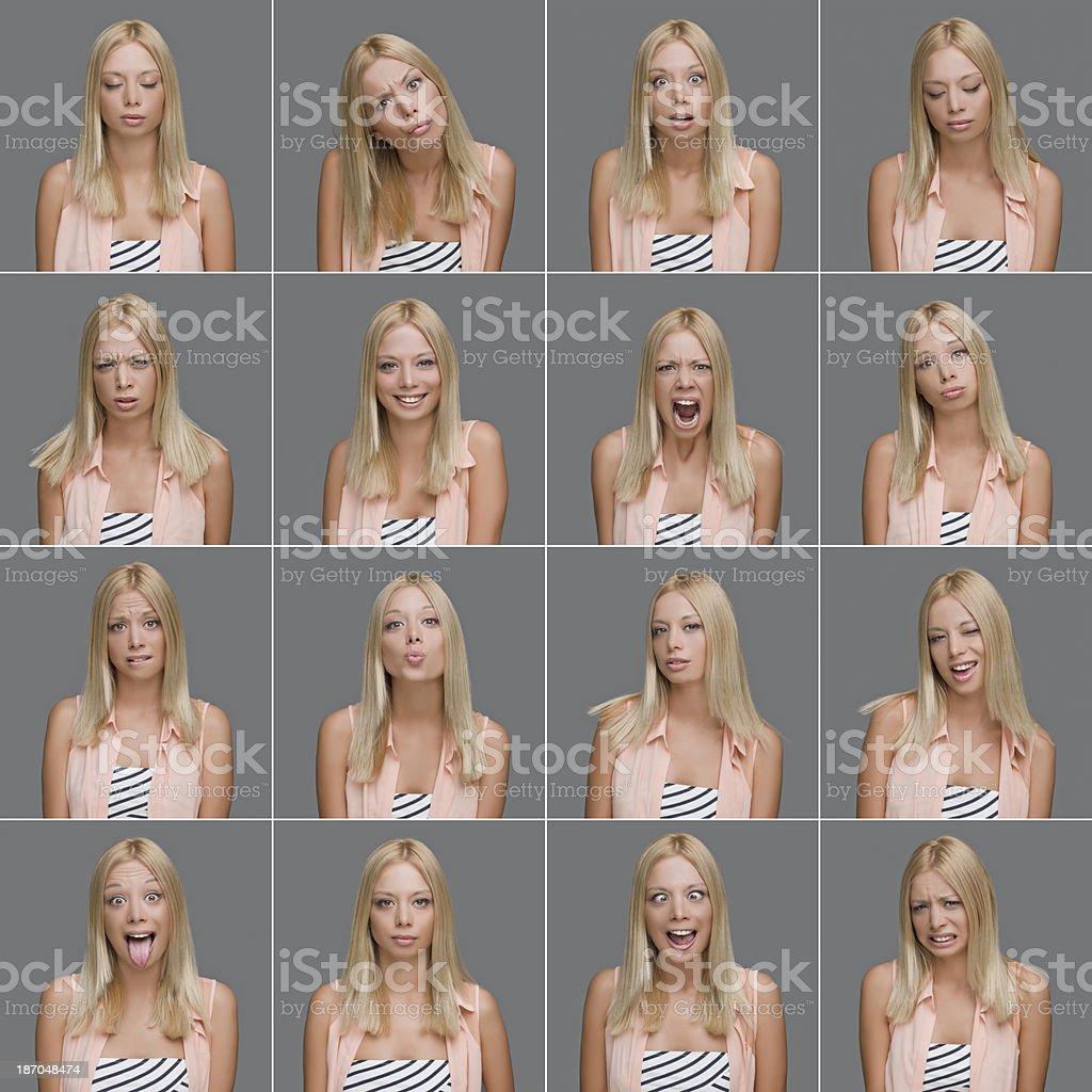 Young woman making facial expressions royalty-free stock photo