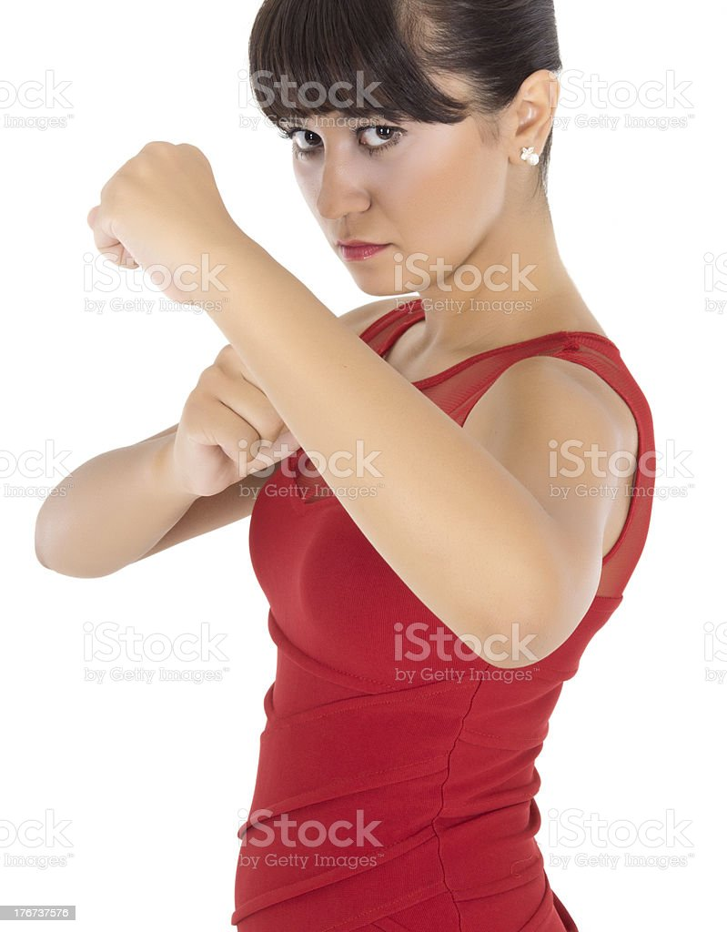 young woman making fists in angst royalty-free stock photo