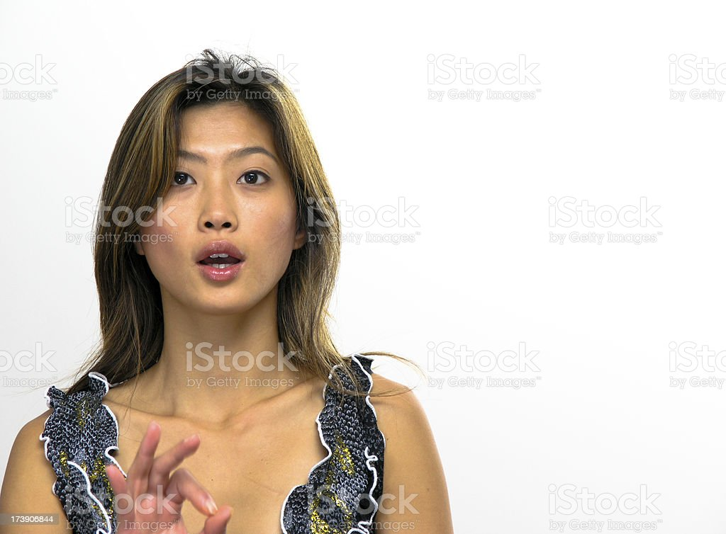 young woman making OK sign stock photo