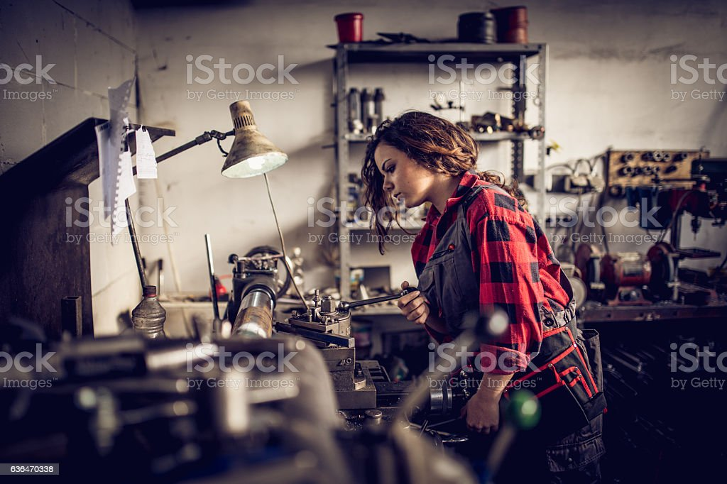 Young woman mechanic stock photo