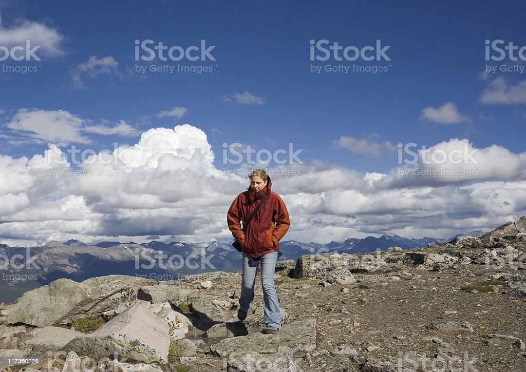 young woman mountain hiking royalty-free stock photo