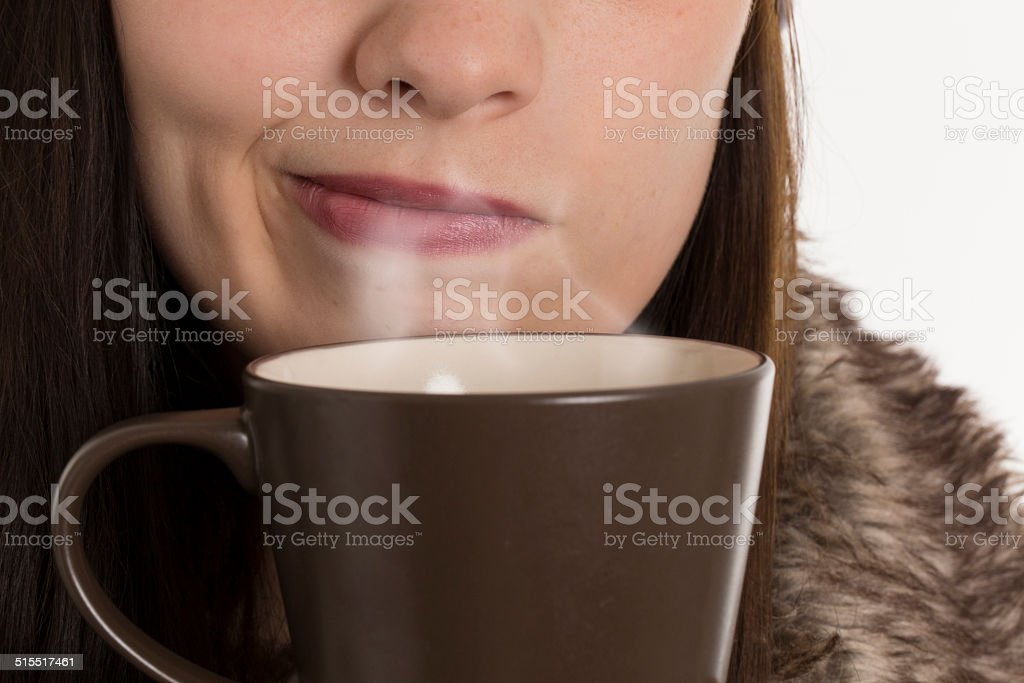 young woman mouth stock photo