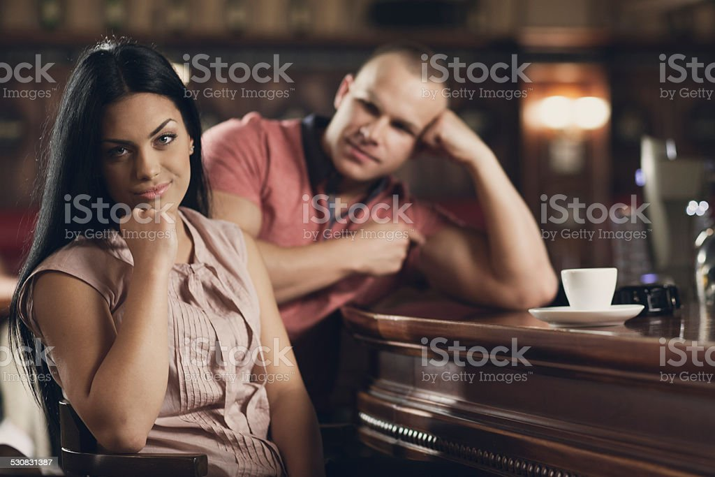 Young woman on a bad date stock photo