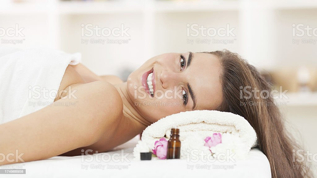 Young woman on a beauty treatment royalty-free stock photo