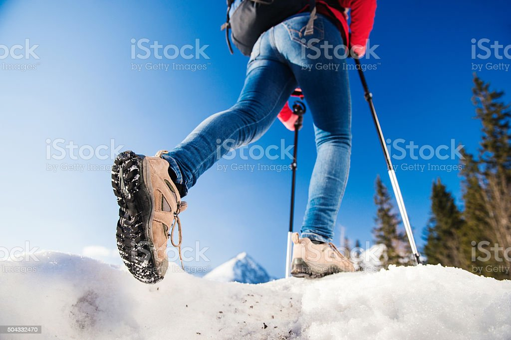Young woman on a hike stock photo