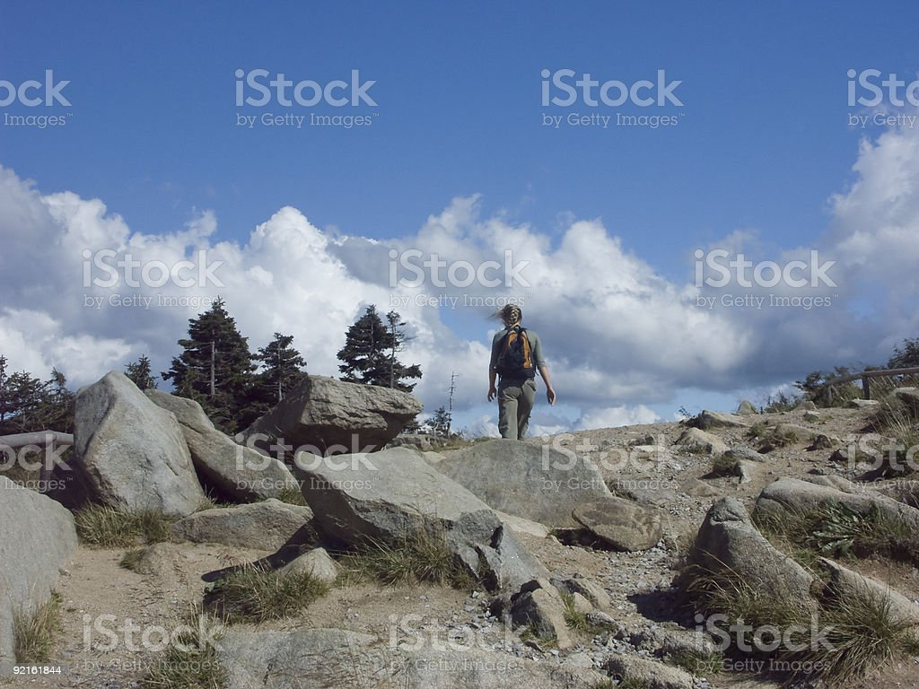 Young woman on a hiking trail at the Brocken. stock photo