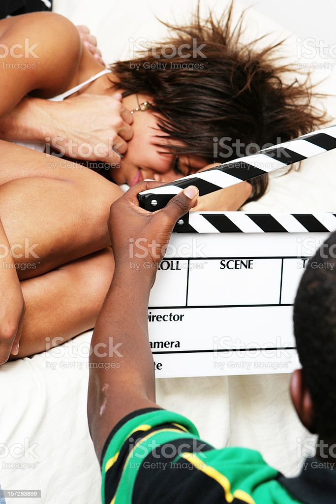 Young Woman on a Movie Set royalty-free stock photo