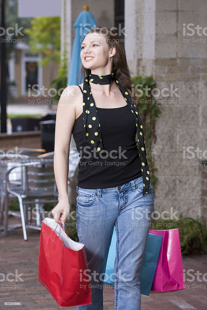Young Woman On A Shopping Trip royalty-free stock photo