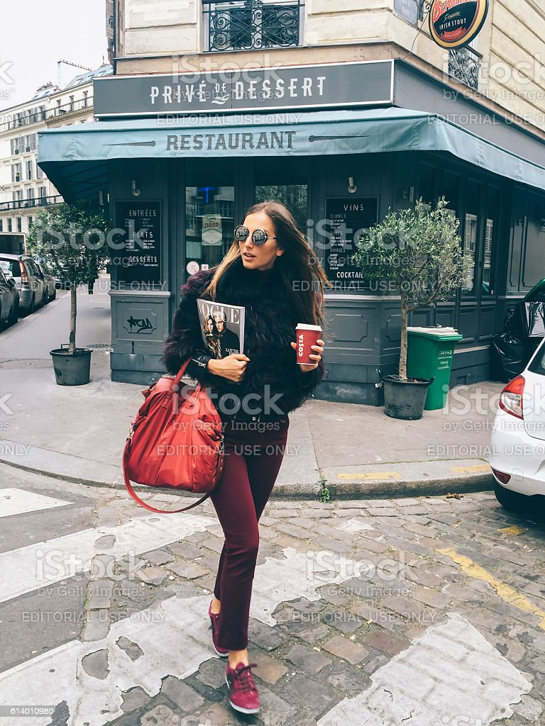 Young woman on a vacation in Paris stock photo