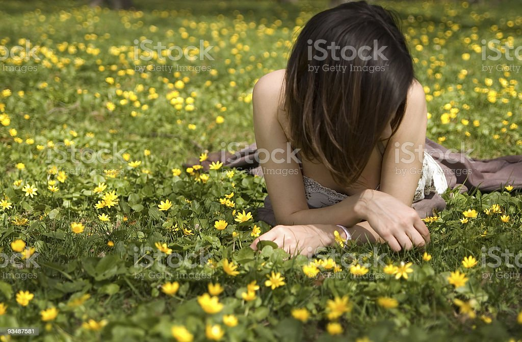 Young woman on grass royalty-free stock photo