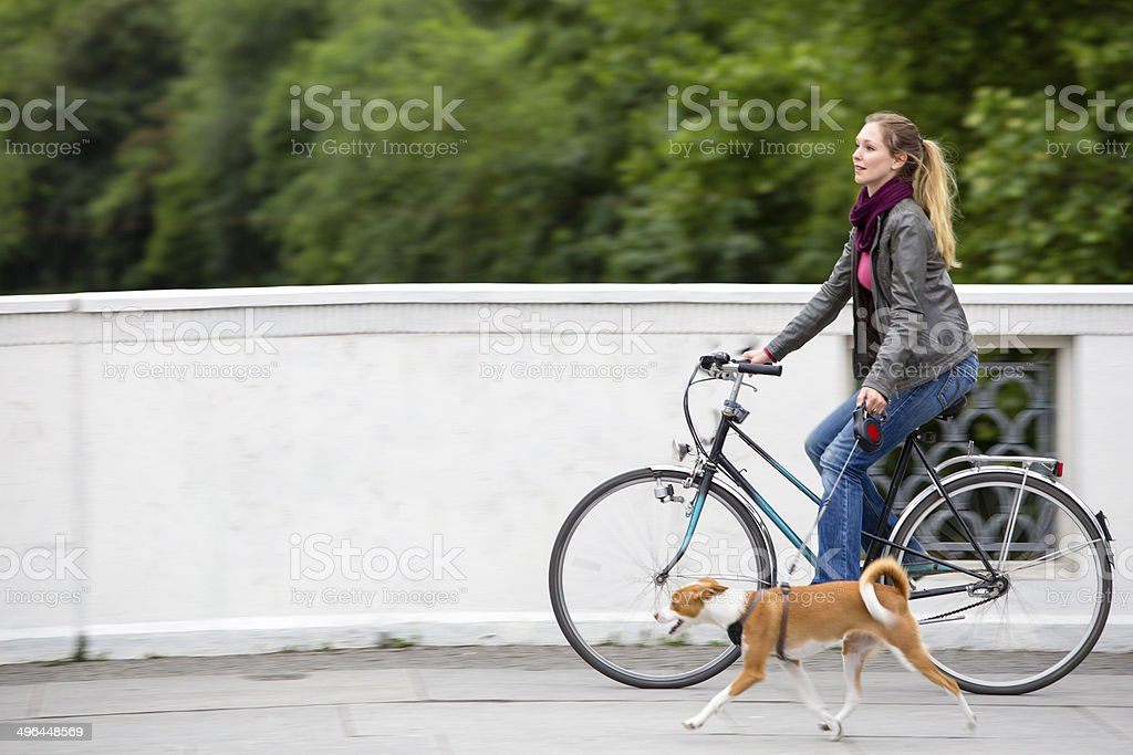 Young woman on her bicycle with her dog in hurry royalty-free stock photo
