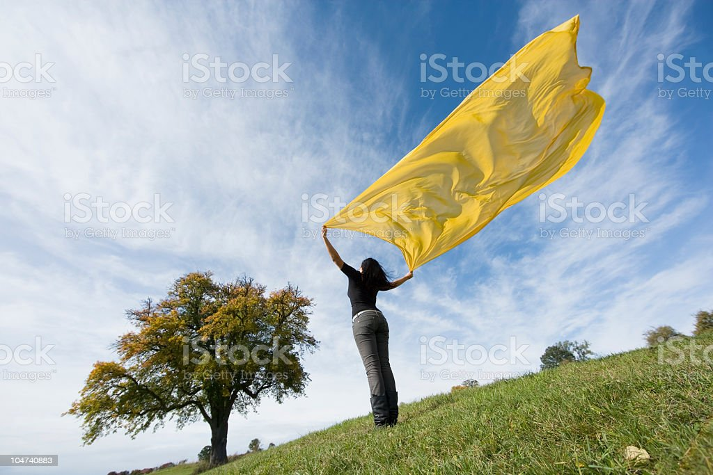 Young woman on meadow holding yellow scarf in wind royalty-free stock photo