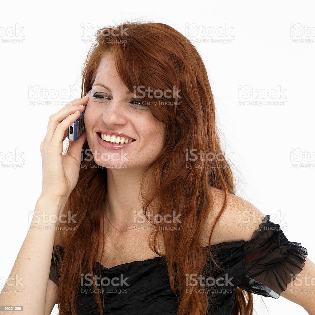 Young woman on mobile phone stock photo
