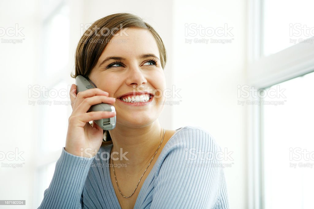 Young woman on phone stock photo
