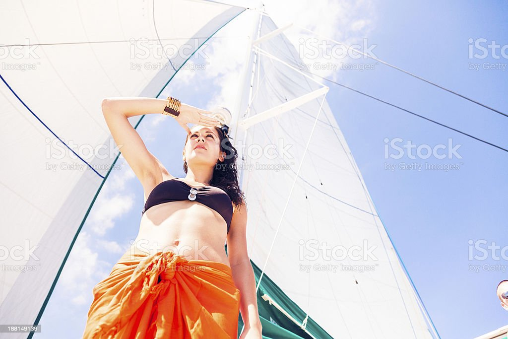 young woman on sailboat royalty-free stock photo