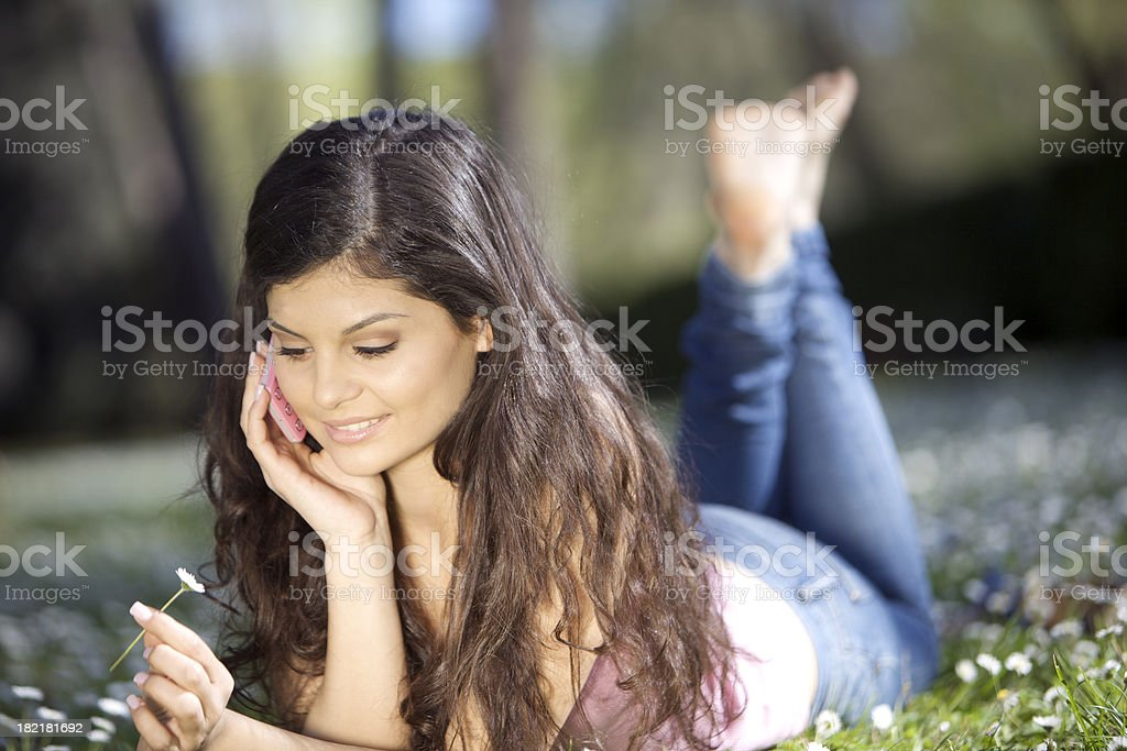 Young woman on telephone royalty-free stock photo
