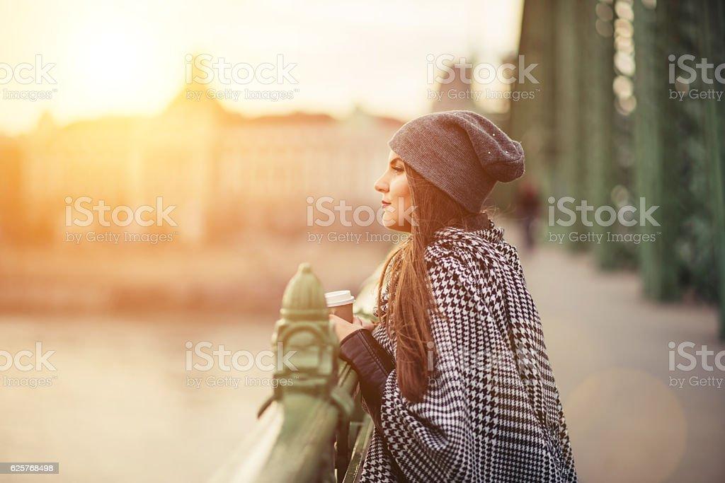 Young woman on the bridge stock photo