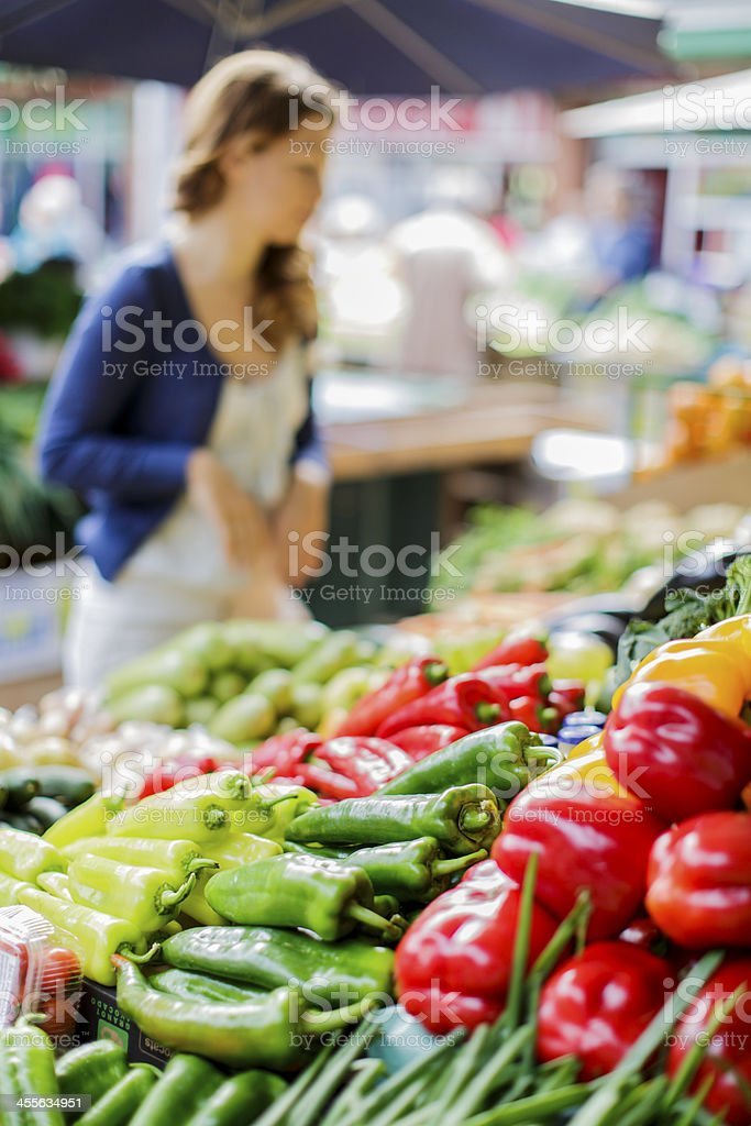 Young woman on the market stock photo