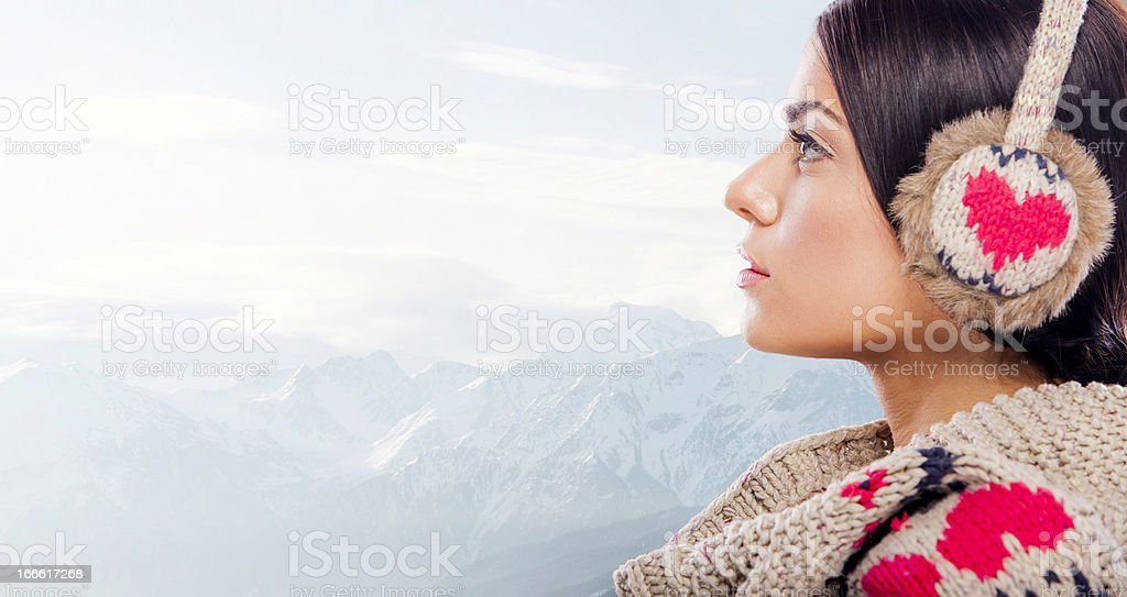 Young woman on the mountain royalty-free stock photo