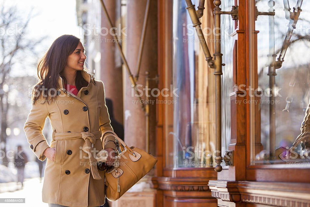 Young woman on the street stock photo