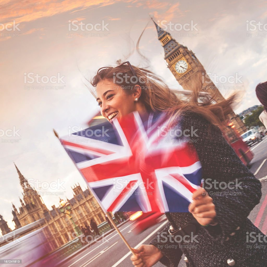 Young woman on the Westminster Bridge stock photo