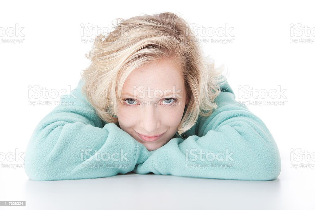 Young woman on white in fleece stock photo