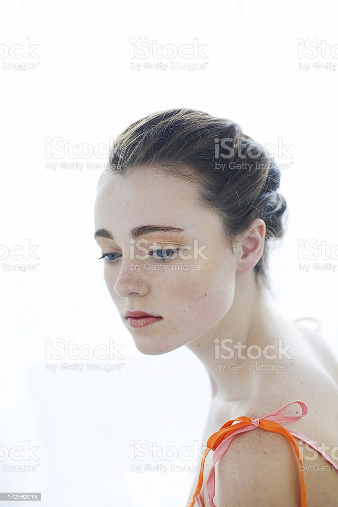 Young woman on white stock photo