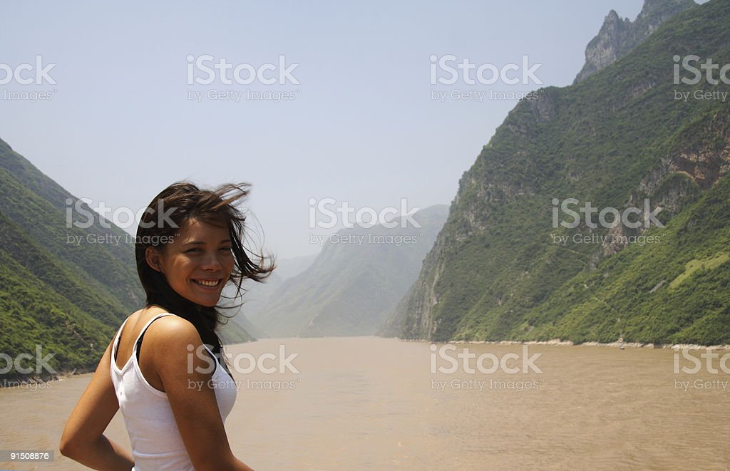 Young woman on Yangtze River stock photo