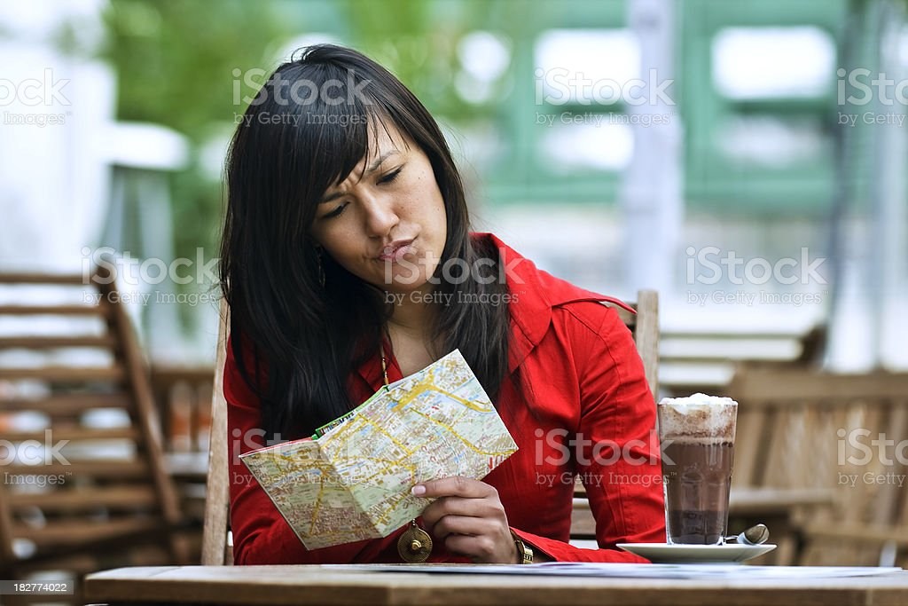 Young Woman Ordering at a Cafe royalty-free stock photo