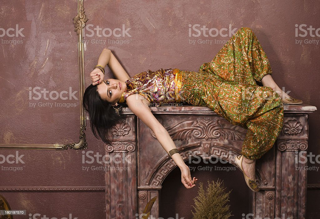 young woman oriental style in luxury room royalty-free stock photo