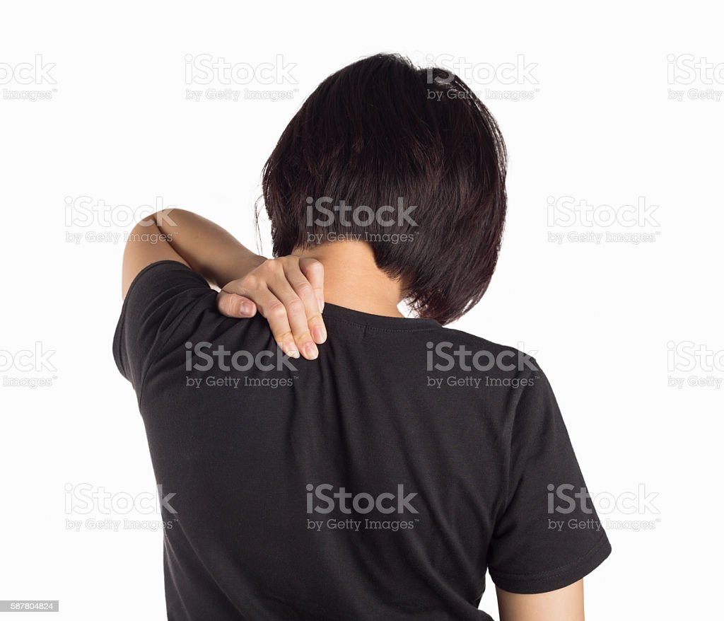 Young woman pain in neck isolated white background. stock photo