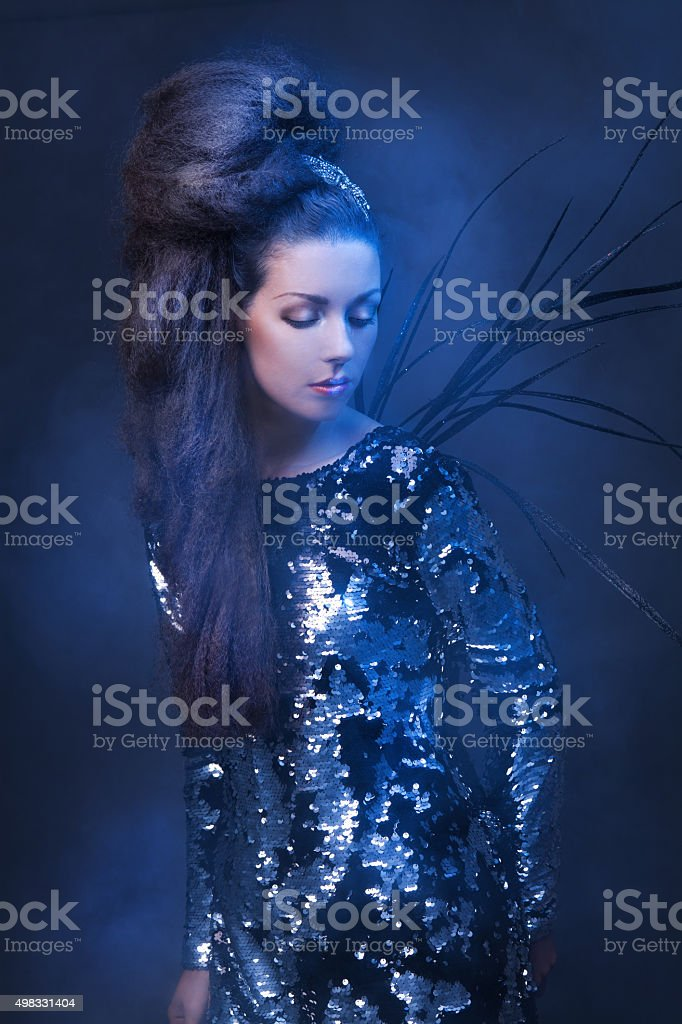 Young Woman Party Glitter Look stock photo