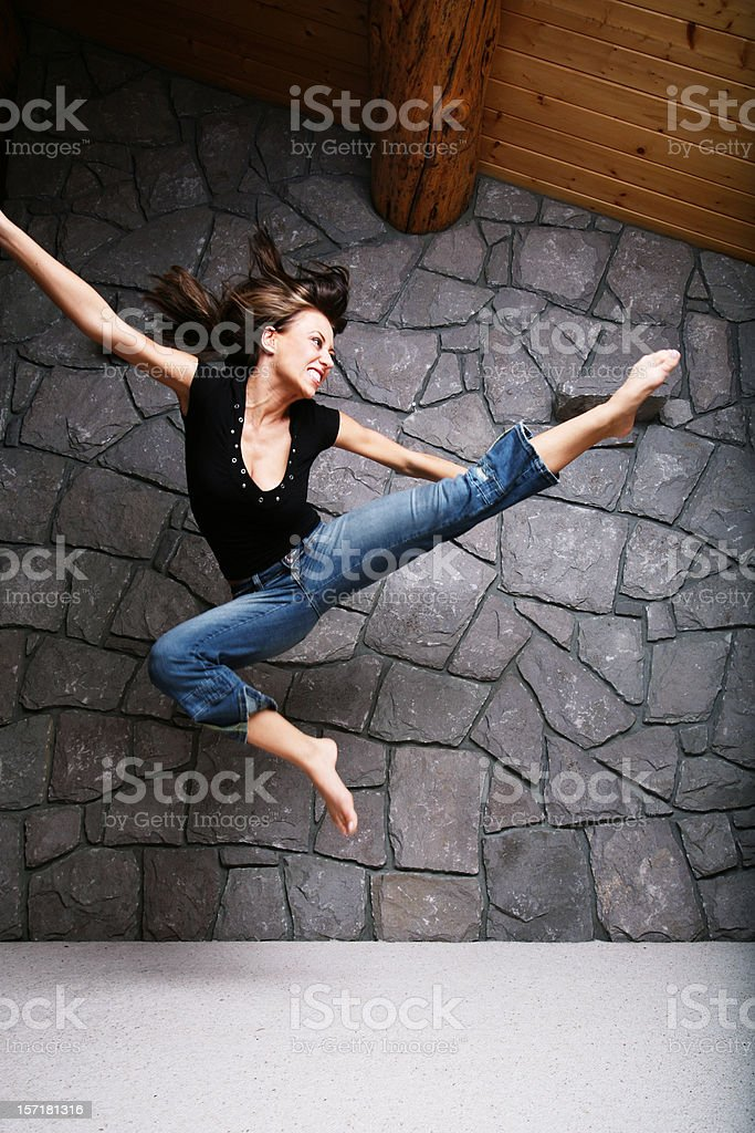 Young Woman Performing Karate royalty-free stock photo