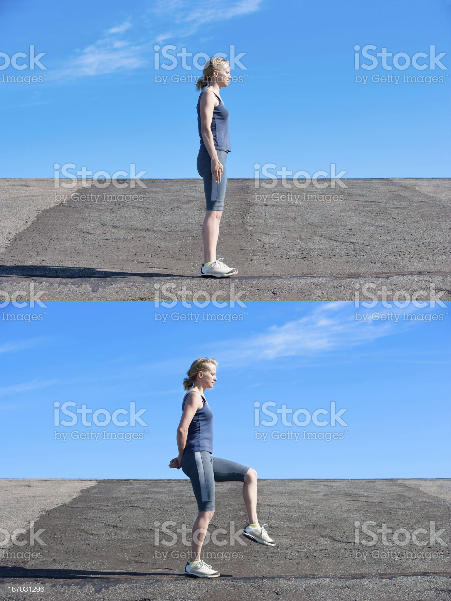 Young woman performing stabilisation exercise royalty-free stock photo