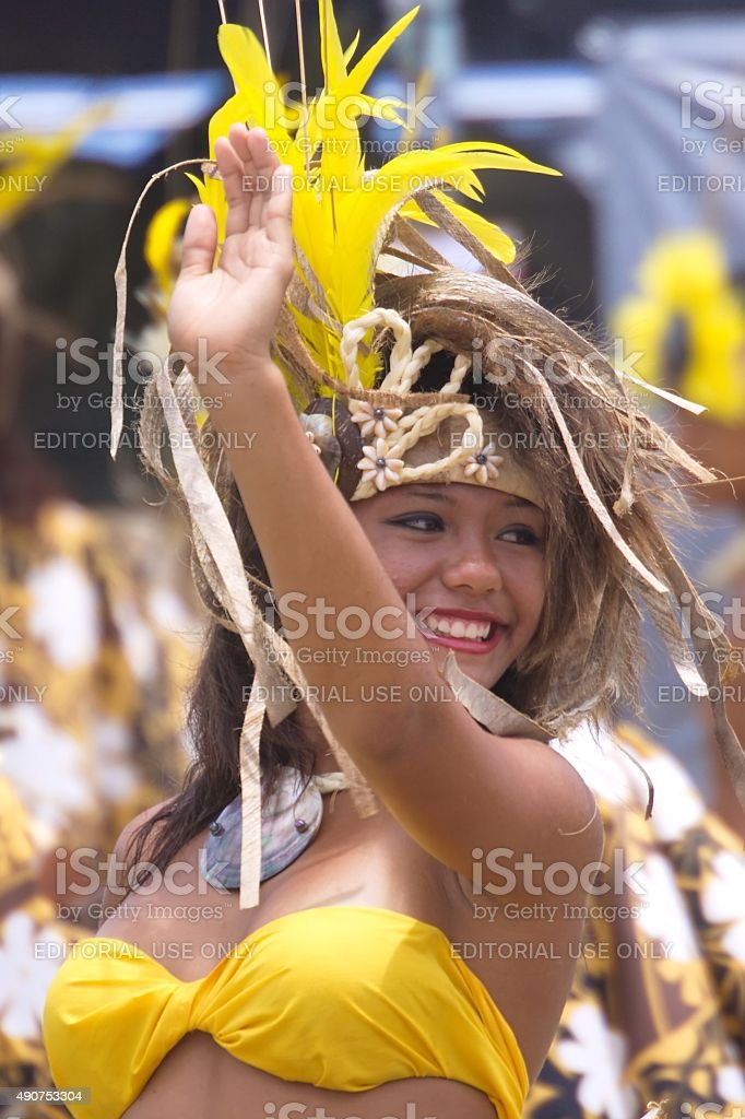 Young woman performs Tahitian dance at the Heiva I Kauai stock photo