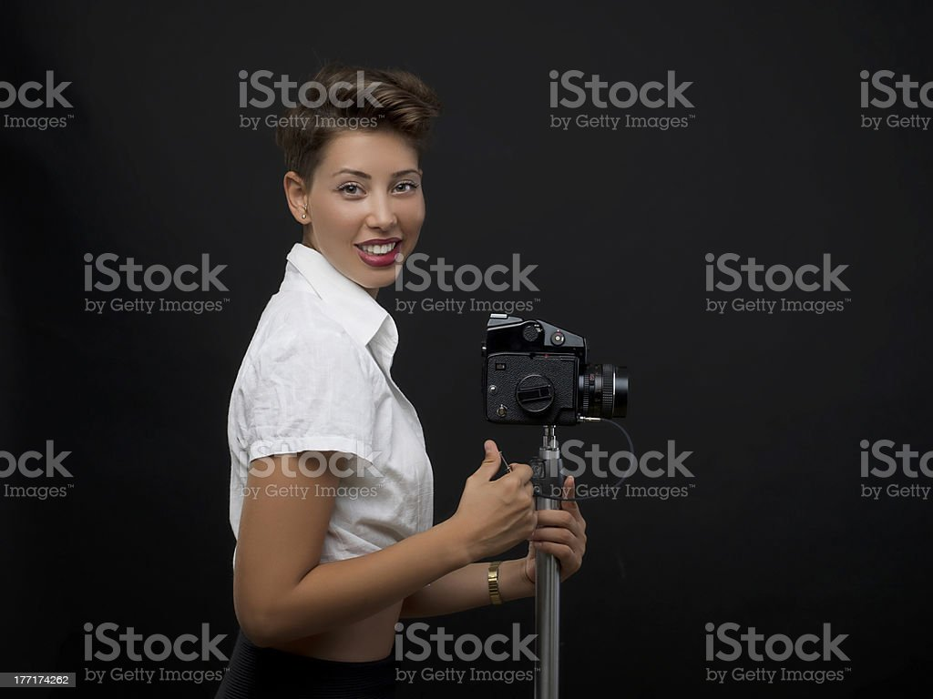 Young woman photographer royalty-free stock photo