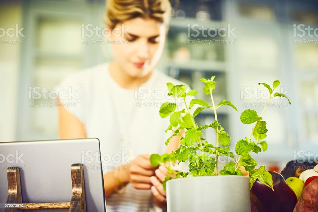 Young woman picking mint leaves by digital tablet in kitchen stock photo