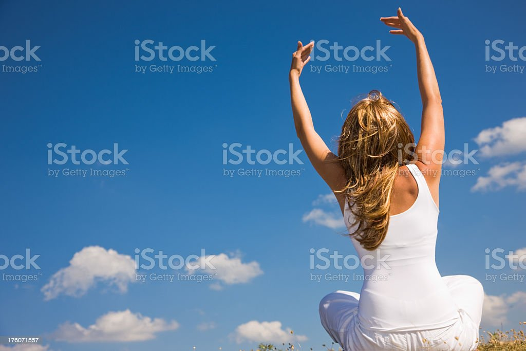 young woman ( yoga, nature) royalty-free stock photo