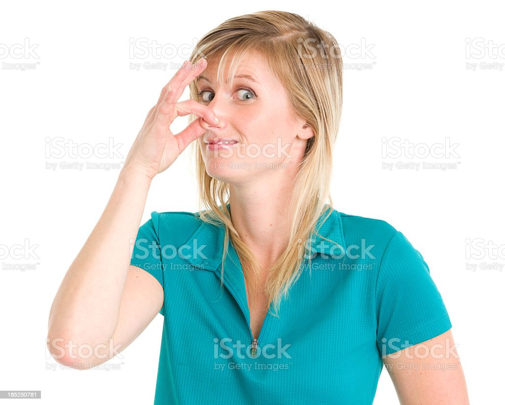 Young Woman Pinching Nose royalty-free stock photo