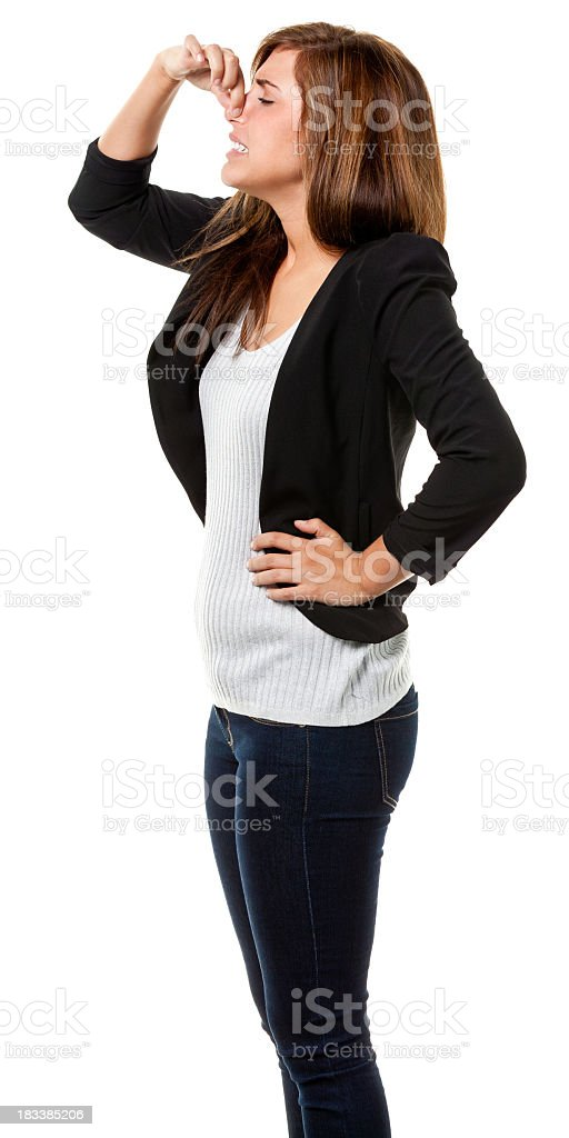 Young Woman Pinching Nose Side View royalty-free stock photo