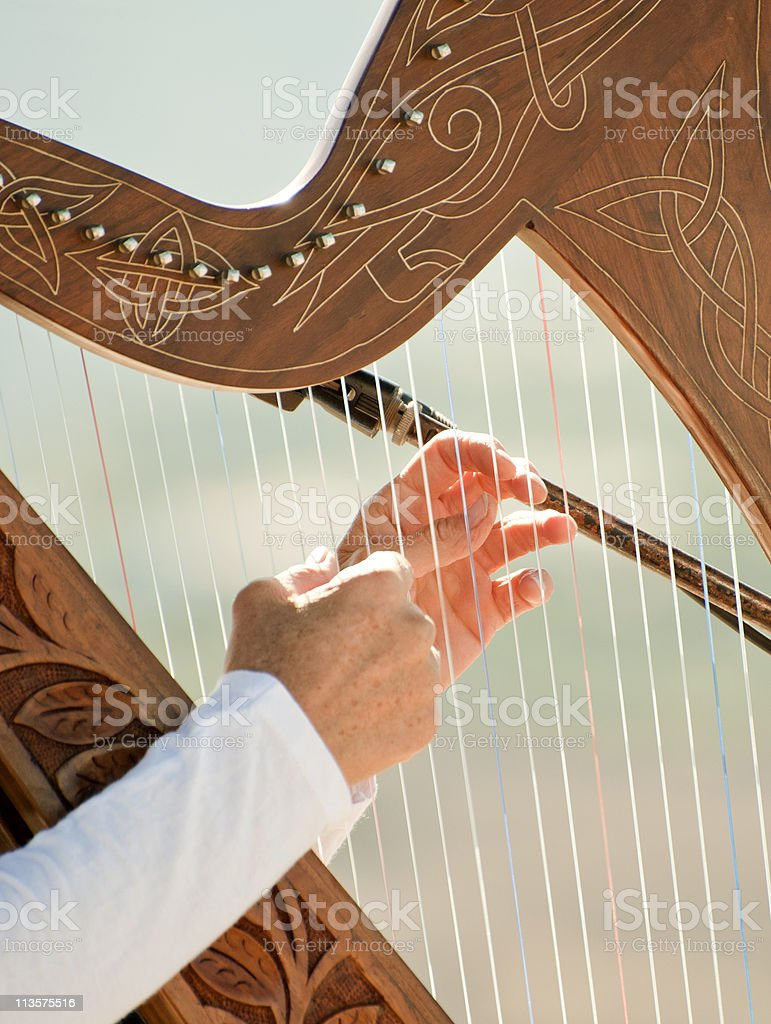 Young woman Playing a Harp stock photo
