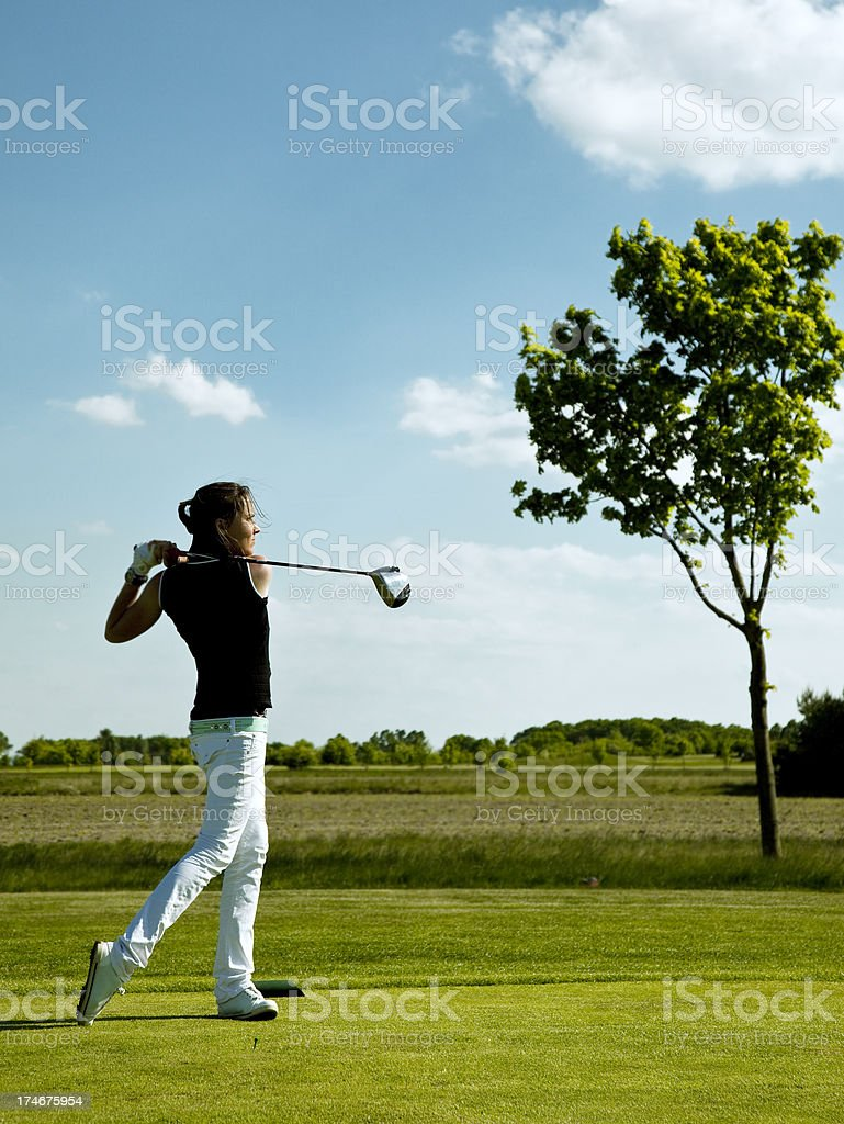young woman playing golf, sport royalty-free stock photo