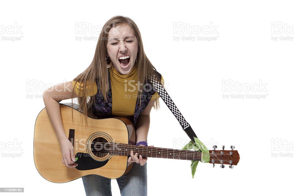Young Woman Playing Guitar Singing Loud Isolated White Background royalty-free stock photo