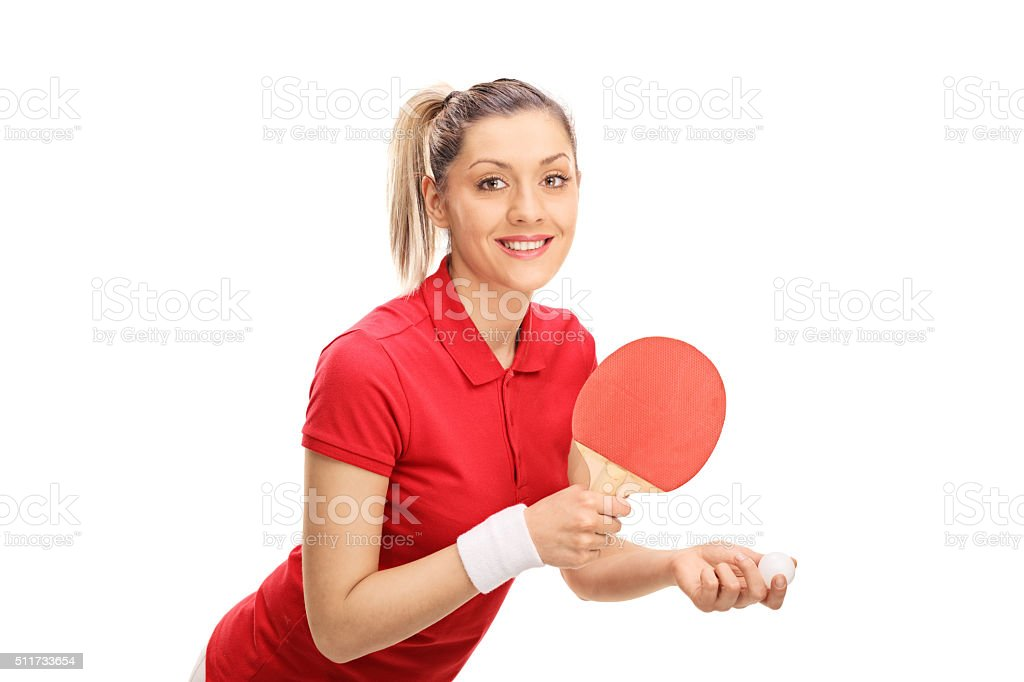 Young woman playing ping pong stock photo