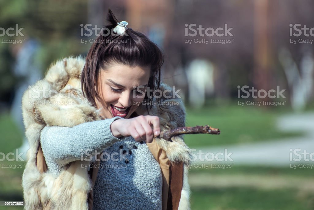 Young woman playing the game stock photo