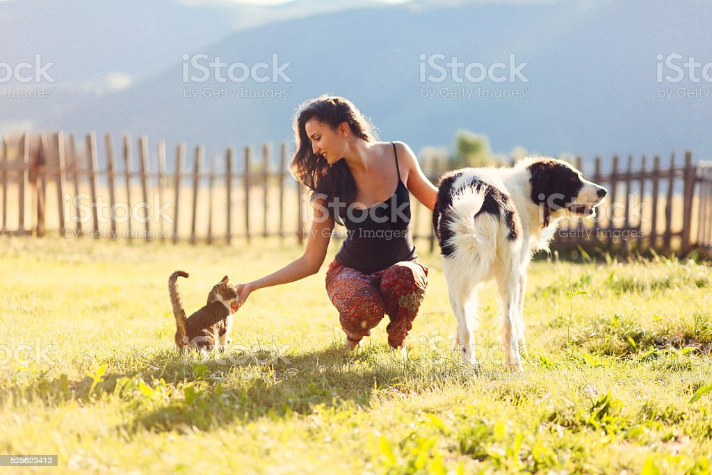 Young woman playing with her pet friends stock photo