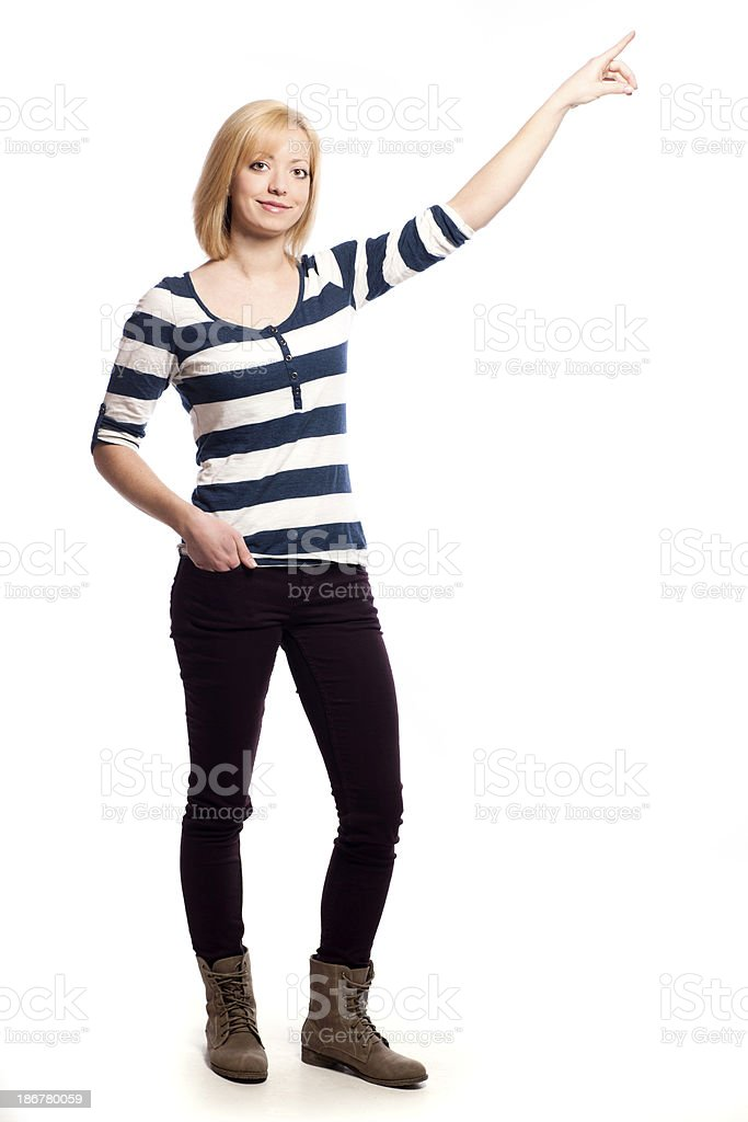 Young woman pointing stock photo